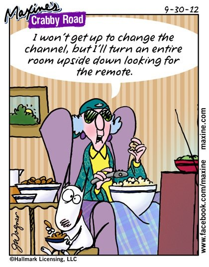 maxine crabby road comic humor about tv remotes