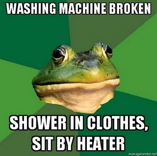 foul bachelor frog washing machine broke
